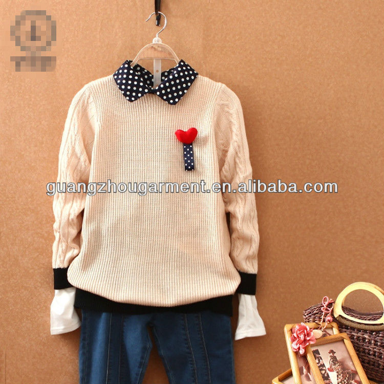 korean style printed woman's kintting pullover sweater