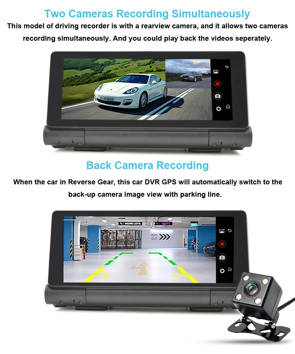 All in One Foldable 6.86 inch Capacitive Screen 4G WIFI Bluetooth Android 5.0 Dashboard GPS Navigation Dual Lens Dash Cam DVR