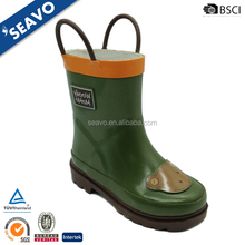 SEAVO 2016 cool high top cute two handles design boys green rubber rain boots