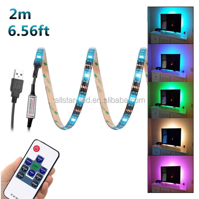 Color changing Led Strip Lights Waterproof USB Powered 5V 5050 RGB Black 6.56ft(2M) 60leds Flexible Tape with RF Remote Control