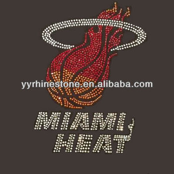 Miami Heat rhinestone basketball crystal transfers