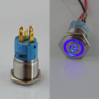 Manufacturer Export CMP Band 16mm Power Symbol LED illuminated Metal Push Button Switch with Factory Wholesale Price