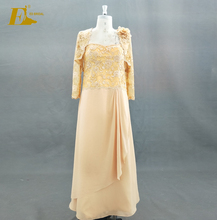 Real Sample Strapless Gold Lace Jacket Sleeves Vintage Mother Of The Bride Dress