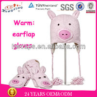 China promotional earflaps warm winter hat and gloves wool animal earflap and gloves