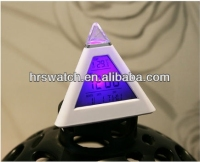 7 color colorful Best selling clock pyramid shape mini led digital alarm clock