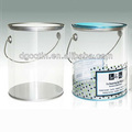 Large clear plastic tin container with lid and handle