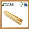 Promotional cheap handmade unfinished pine wooden pencil case with ruler lid