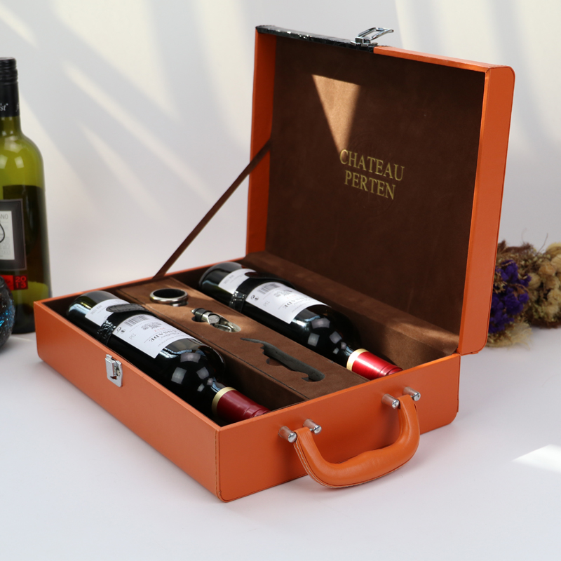 Luxury Faux Leather Gift Box Packaging,Orange Stitching leather Wine Box Wood MDF