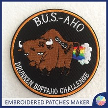 Create a patch Custom BUS AHO Embroidery Patches Iron on backing for