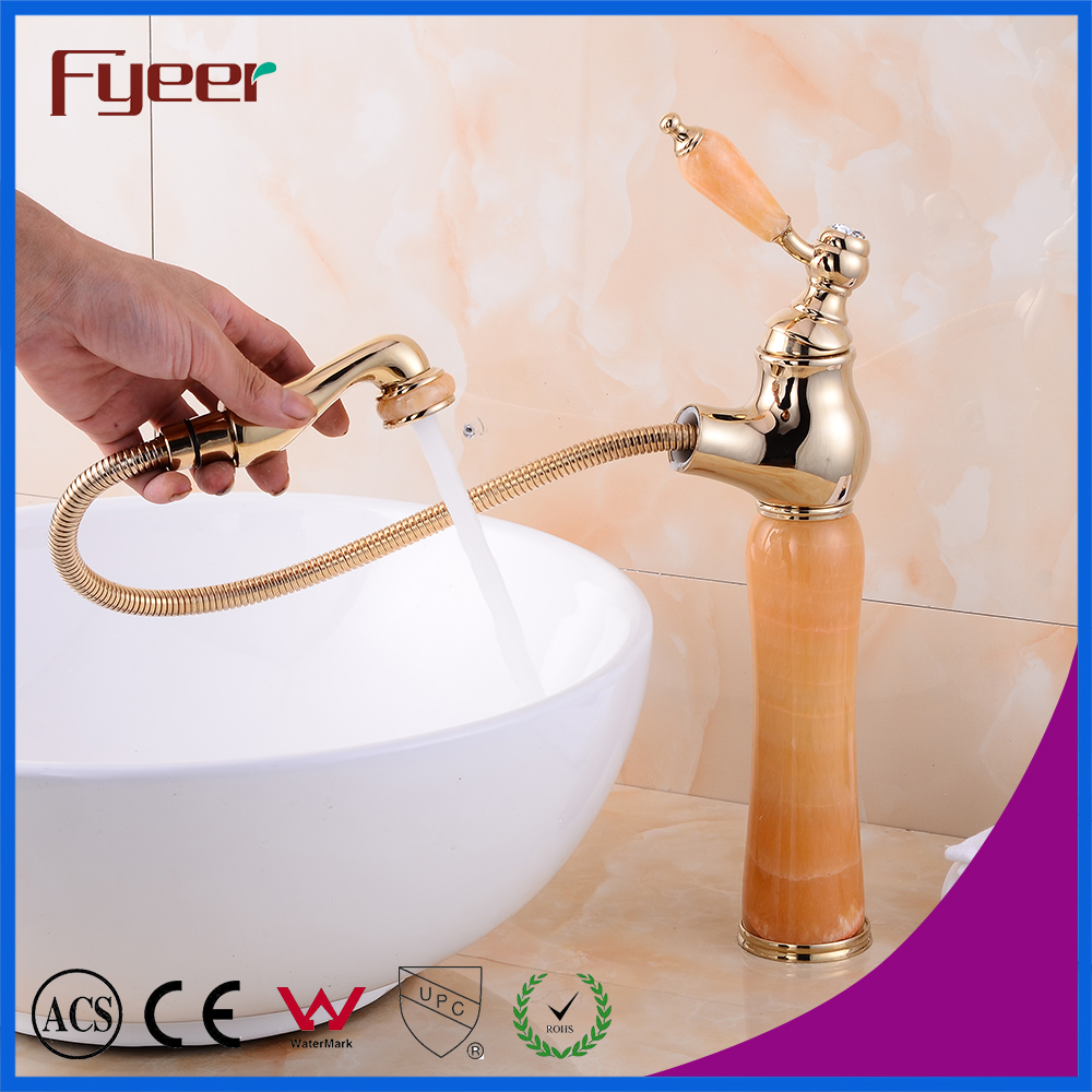 Brass Golden Orange Yellow Jade Long Body Bathroom Basin Faucet with Pull Out Sprayer