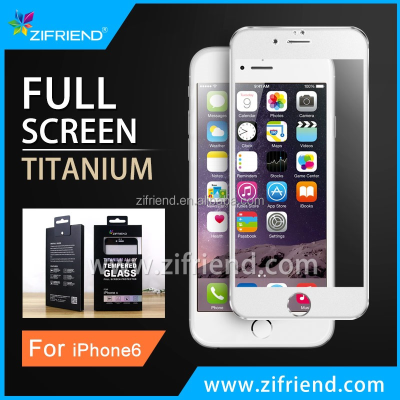 2015 New 100 % Full Cover 2.5d 9h Ultra-clear Titanium Alloy for iPhone protector glass