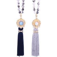 xl00821c Online Shopping Women Statement Black Beads Jewelry Opal Stones Wholesale Handmade Tassel Necklace