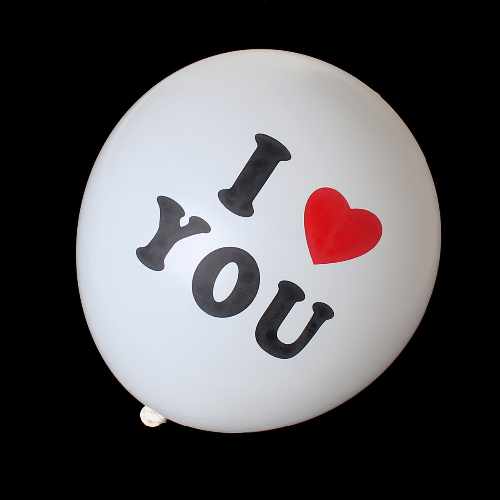 "Party Supplies Round White Alphabet ""I Love You"" Pattern Party Decorations Latex Balloon"