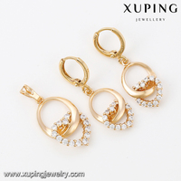 63990-Xuping Engagement pendant and earring sets crystal jewellery set with heart