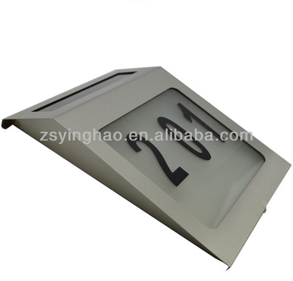 Impermeável açoinoxidável luz solar número, casa endereço luz,