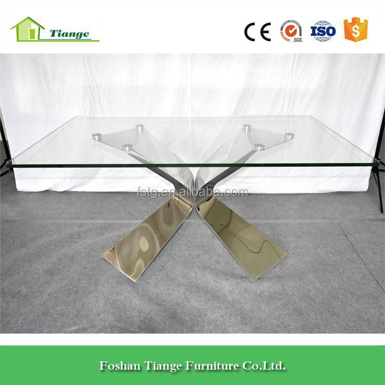 Contemporary Design Polished Stainless Steel Tempered Glass Dining Table