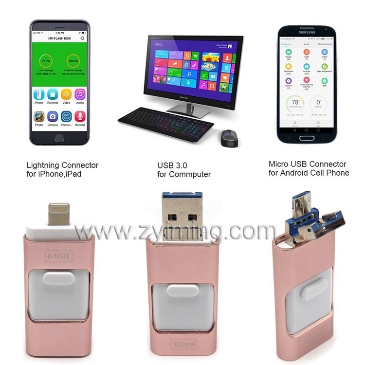 Zyiming wholesale otg 3 in1 2.0/3.0 USB 32gb 64gb 2tb usb pen drive card for android and iphone