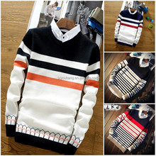 Wholesale cheap stock crew neck long sleeve super soft knitted stripe man sweater