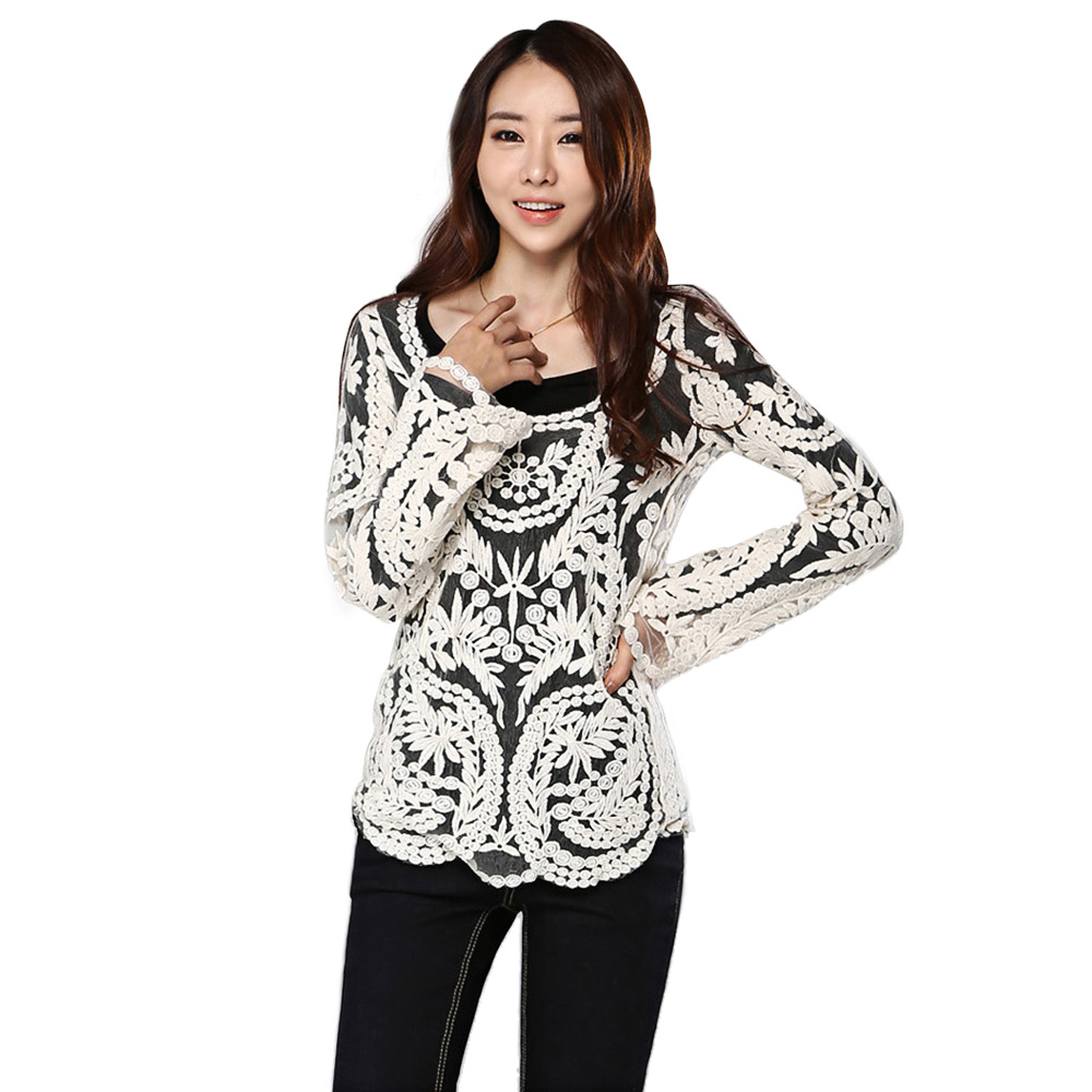 New Women Sexy Lace Long Sleeves Blouse B&W Solid Color Crochet Feminine Blusas Casual Basic Shirts Hollow Out Smock tops