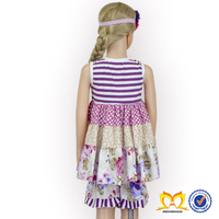 Fashion Design stripes And Flower Small Girls Dress And Pant Children Frocks Designs Ruffle Short Set Little Girl Summer Clothes
