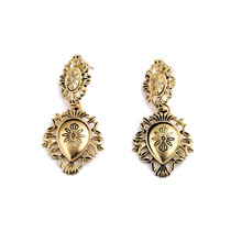 European Style Hot Sale Zinc Alloy Engraved Vintage Statement Gold Earring