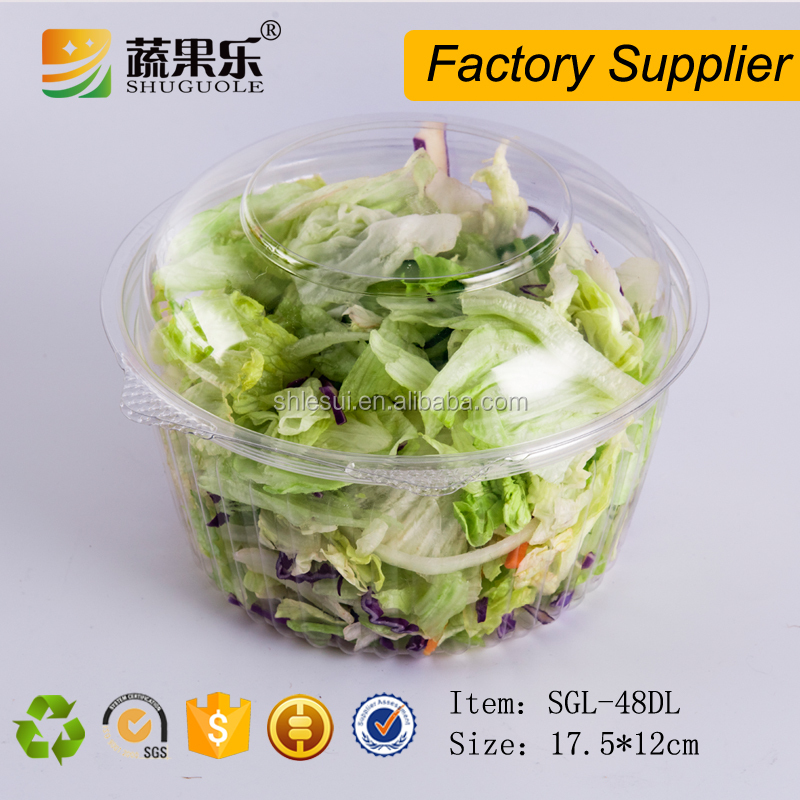 Eco Friendly PET disposable plastic vegetable and fruit salad packaging