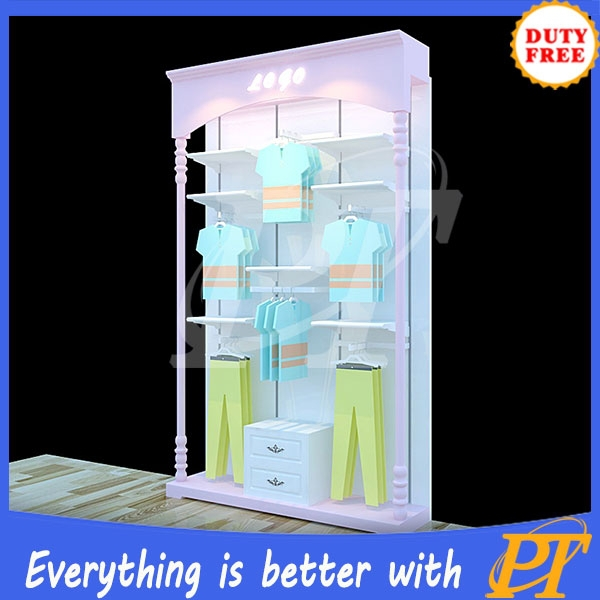 2015 new style Line clothes store clothing standing rack from china