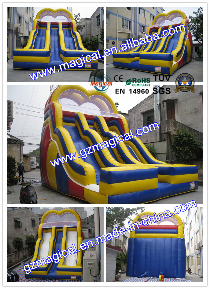 inflatable dry double lane stair slide for sale