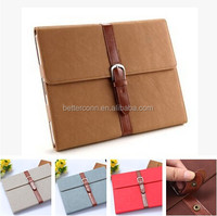 Brief Artificial Leather Case with Stand &Belt Buckle Leather Flip Stand Case For iPad 2 3 4 Smart Cover Sleep Sleeve
