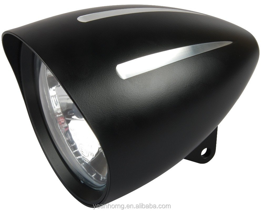 "5 3/4"" Black Aluminum Headlight with 3 grooved lines and visor for Harley Davidson"