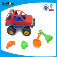 Plastic sand beach car toys with tools for kids