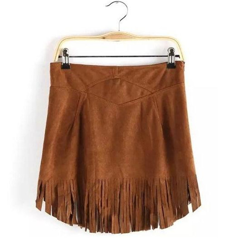 2015 Autumn New Bust Skirt Fashion Suede Tassel Women's Skirts European and American Style Solid Color Mosaic Casual HY1195