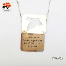 "yellow die-square pigeon fine chain necklace with letter ""you have to believe in yourself .that's the secret of success"""