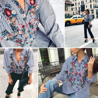AL2088W Floral embroidery striped lady tops blouses women new model shirts