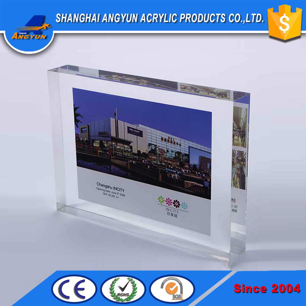 transparent clear acrylic embedment photo frame paperweight acrylic sandwich picture photo frame