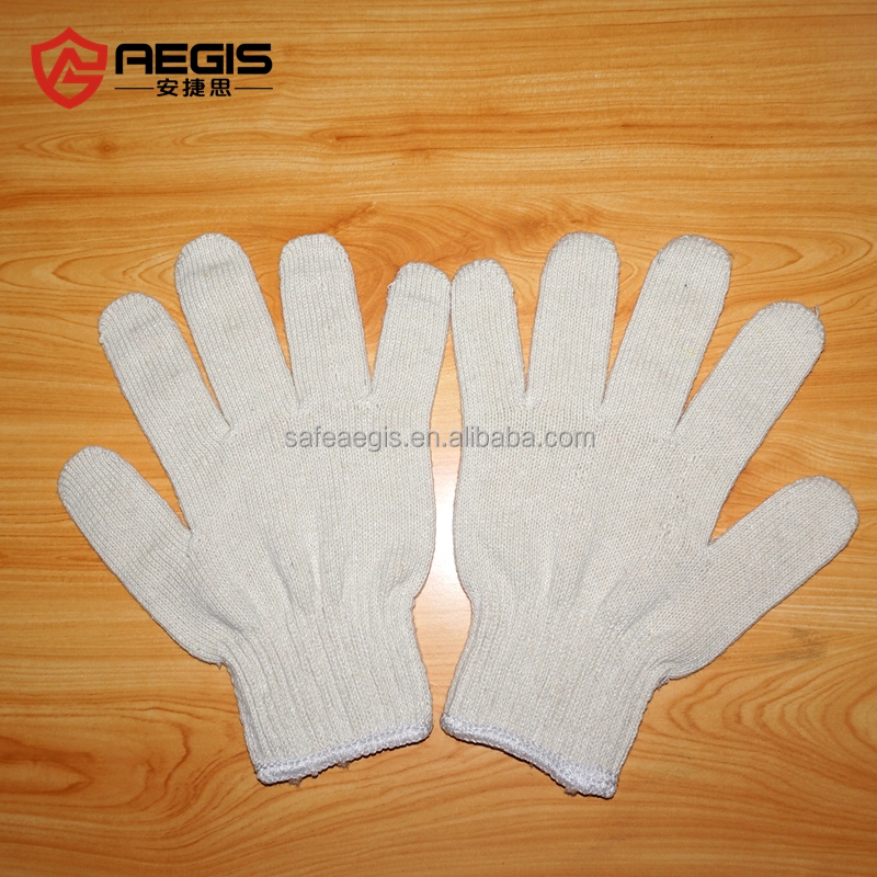 Bleach white cotton knitted for industrial use protection hand gloves