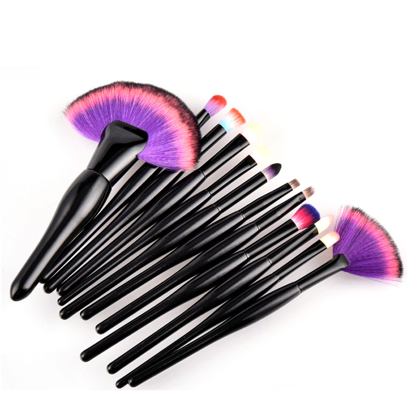 22pcs wood handle best hot makeup brush set label make up brushes set with colorful synthetic hair
