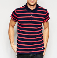 Custom New Design China Supplier 100 Cotton Man's Stripe Pique Polo Shirt In Red And Black
