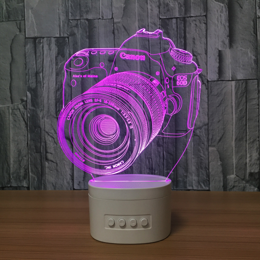 New arrival 3d led night lamp with bluetooth speaker