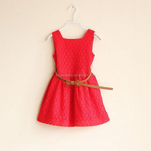 ages 2-7y 2015 summer new models Kids Belt Lace Vest Dress Princess Girls dress red~white baby dress