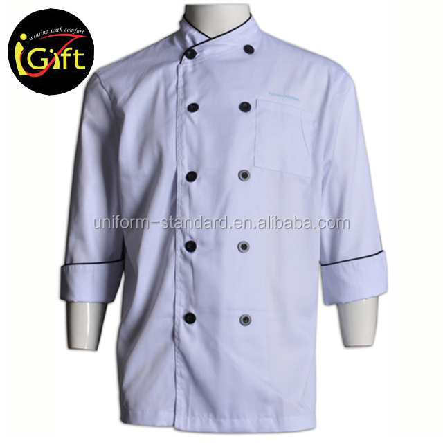 Basic Fit Chef Coat Plastic Buttons Cotton Twill Cheap Top Chef Clothing