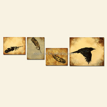 4 panel canvas art decor flying birds group abstract animal painting