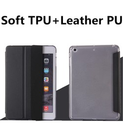 Leather Case Side Flip Stand TPU+PU Leather Cover Case for iPad Air 2