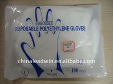 Clear/Blue disposable PE Gloves with good quality