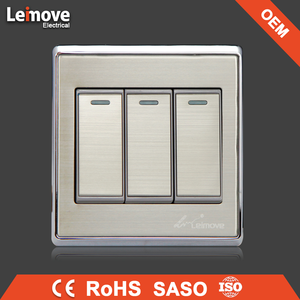 OEM for saso switch power Stainless steel faceplate silver thee gang one way switch