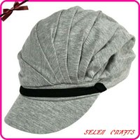 Grey Soft Jersey Cotton Pleated Newsboy Cap Hat