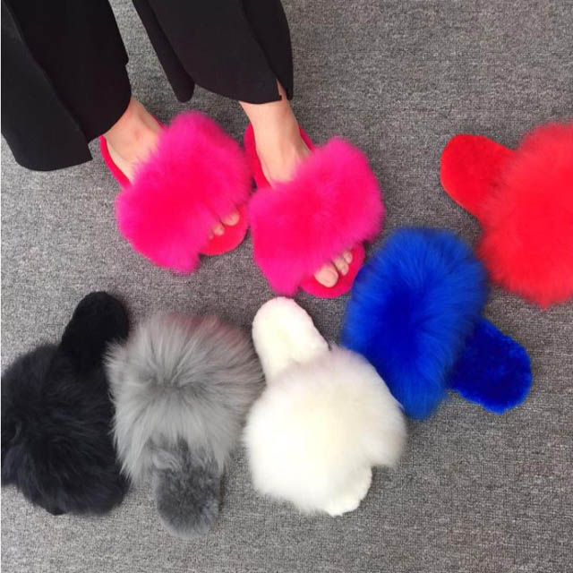 Free Shipping Wholesale Fox Fur Indoor Slipper Ladies Soft Fur Leather Slippers