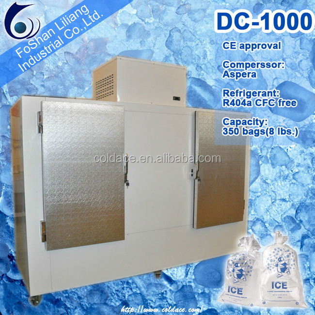 Indoor and outdoor ice storage bin bagged ice merchandiser
