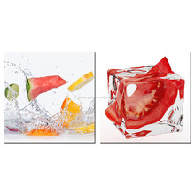 2 Pieces/Tomato Ice Cube Canvas Painting/Cool Summer Canvas Printing Pictures/Fruit Party Dining Room Canvas Drawing