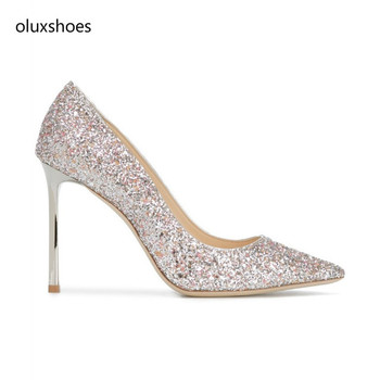 1703 glitter evening shoes for women